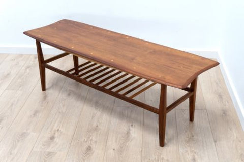Mid Century Vintage Teak Surfboard Danish Design Coffee Table