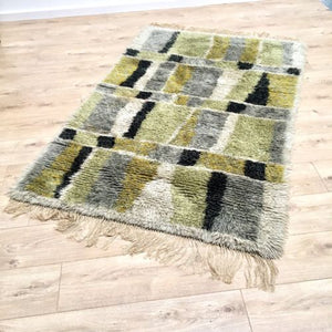 Mid Century Vintage Swedish Large Rya Wool Rug Hand Tufted