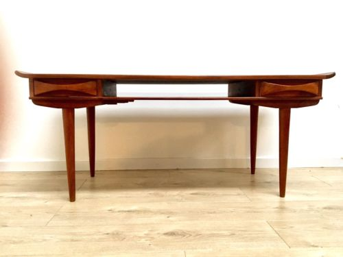 Rare Mid Century Danish Teak Coffee Table With Drawers And Pull Out Drinks Tray