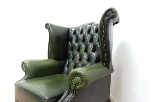 Chesterfield Green Leather High Wing Back Armchair Vintage Queen Anne /1418