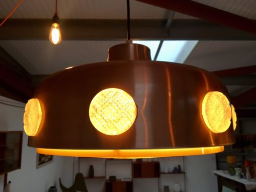 Mid Century Danish Vintage UFO Pendant Light Lamp 1960's
