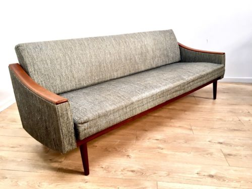 Superb Mid Century Vintage Teak Danish Grey Sofa Bed 1960's