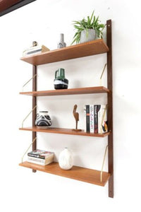 Stylish Mid Century Danish Vintage Teak PS Cado Wall Shelving Bookcase /910