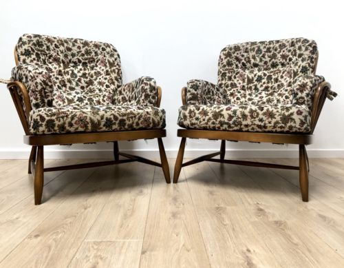 Pair Of Vintage Ercol Windsor Jubilee Arm Chairs With Cushions Superb Condition