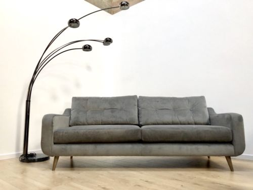 NEW Grey Velvet Contemporary 'Lisbon' 4 Seater Sofa Settee By Whitemeadow