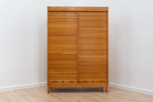 Rare Mid Century Vintage Swedish Oak Filing Drawers Shelving Tambour Doors