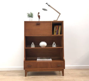 Mid Century Vintage Teak Shelving Bookcase Bureau Unit With Drawer