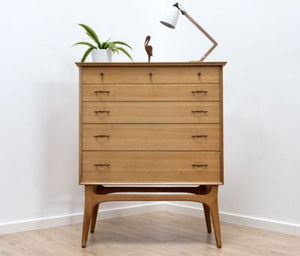 MID CENTURY VINTAGE ALFRED COX HEALS WALNUT TALLBOY CHEST OF DRAWERS
