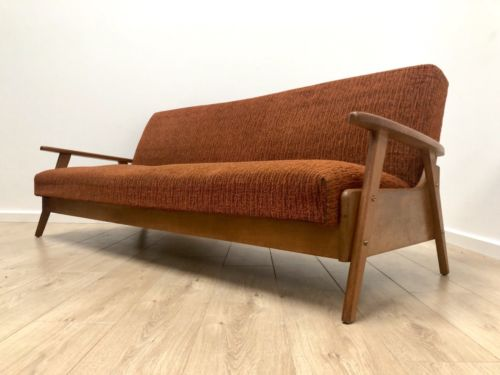Superb Mid Century Danish Vintage Oak Sofa Bed Settee Daybed 1960's