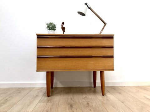 Mid Century Vintage Teak Chest Of 3 Drawers 1960's