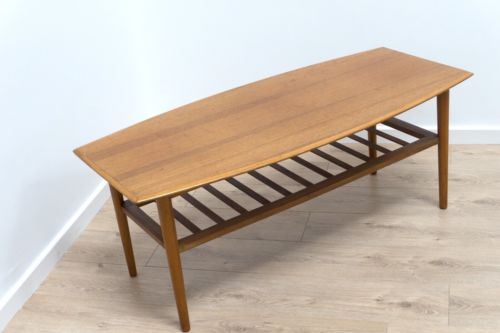 Mid Century Vintage Retro Teak Surfboard Coffee Table With Magazine Rack