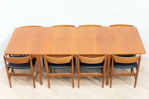 Mid Century McIntosh Vintage Teak T3 Extending Dining Table & 8 Chairs /1194