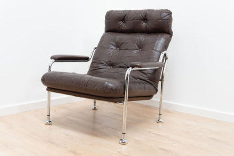 Stunning Mid Century Swedish Leather and Chrome Modernist Armchair 1960's