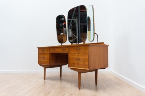 Mid Century Vintage Walnut Alfred Cox Dressing Table With Mirror & Stool