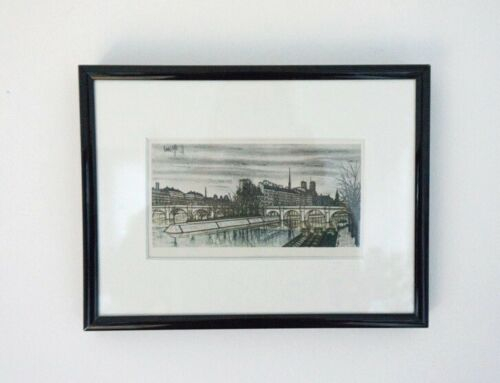 Mid Century Vintage Bernard Buffet Framed Colour Cityscape Lithograph 1960 /1102
