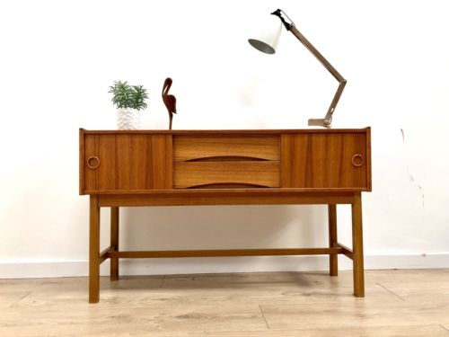 Mid Century Vintage Swedish Teak Console Table With Drawers And Cupboard 1960's