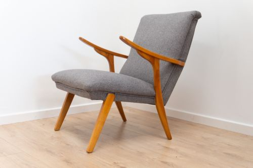 Superb Mid Century Danish Vintage Armchair Lounge Chair Grey Upholstery 1950's
