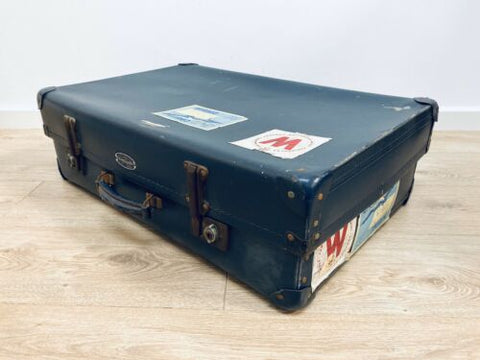 Original 1950's Vintage Vanguard Suitcase Luggage Trunk /1070