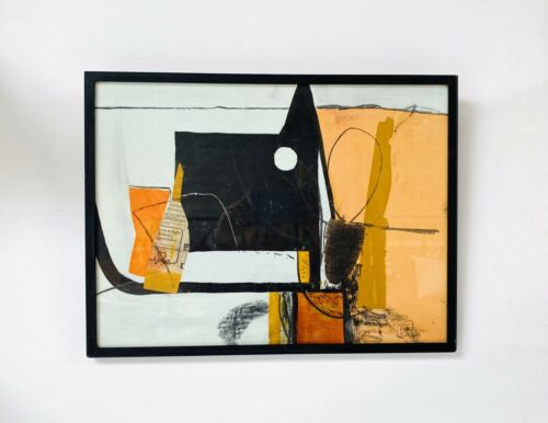 Original Mid Century Vintage Abstract Multi Media Collage Painting /1026