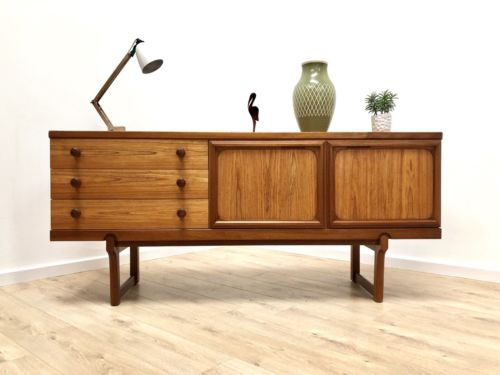 Superb Mid Century Vintage Teak Modernist Sideboard Cupboard Drawers 1960's