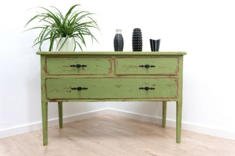 Vintage French Distressed Chest Of Drawers Hall Console /1444
