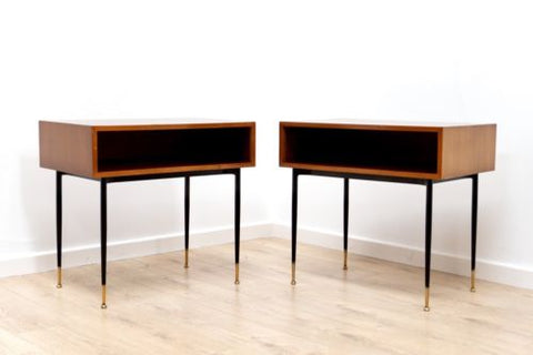 Rare Pair Mid Century Vintage Teak Heals Modernist Bedside Tables Drawers
