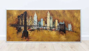 Large Original 20th Century Art School Framed Cityscape Oil Painting 1960's /611