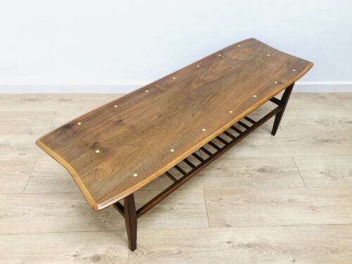 Superb Mid Century Vintage Teak Surfboard Coffee Table Magazine Rack /759