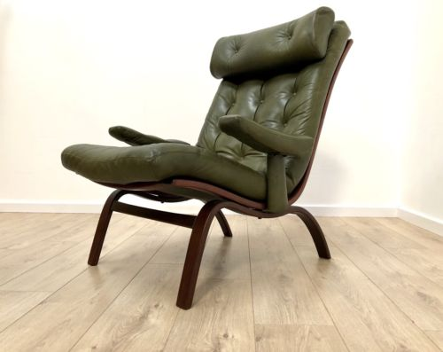 Mid Century Gote Mobler Swedish Vintage Leather & Rosewood Armchair 1960's