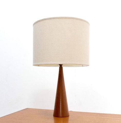 Mid Century Vintage Danish Teak Table Lamp With Shade 1960's /410