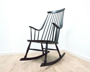 Midcentury Lena Larsson Swedish Grandessa Vintage Black Rocking Chair /1527