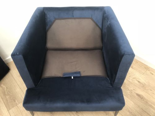 NEW John Rocha Blue Velvet Contemporary Retro Inspired Armchair Lounge Chair