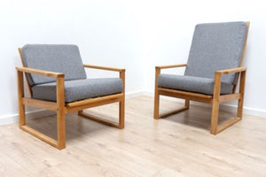 Superb Pair Mid 20th Century Vintage Retro Armchairs Lounge Chairs Grey /176