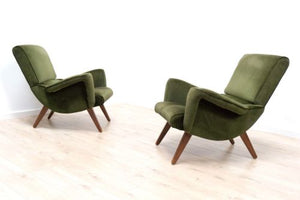 Superb Pair Mid Century Vintage Retro Green Velvet Lounge Chairs Armchairs /359