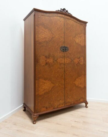 Stunning Antique Vintage Art Deco Burr Walnut Wardrobe Armoire /1399