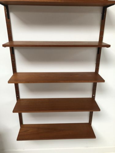 Mid Century Vintage Danish Teak Wall Modular Shelving Unit Metal Supports