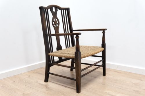 Beautiful Antique Victorian Vintage Spindle Back Chair with Rush Seat /135