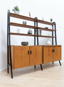 Mid Century Swedish Vintage Teak Ebonised Freestanding Shelving Unit /731