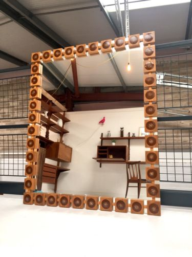 Stunning Mid Century Vintage Large Swedish Teak And Ceramic Decorative Mirror