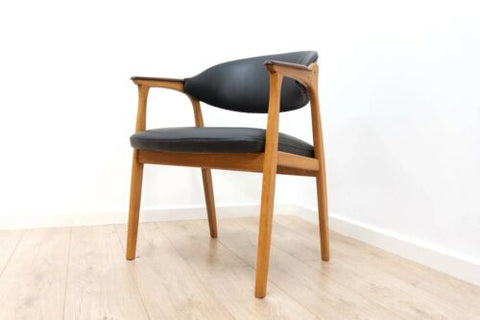 Rare Mid Century Vintage Danish Teak Modernist Leather Desk Chair 1950's /664