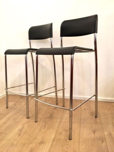 Modern Black And Polished Chrome Italian Kitchen Bar Stacking Stools Pair
