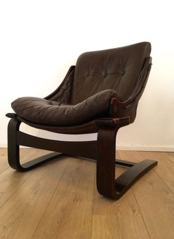 MID CENTURY VINTAGE DANISH LEATHER LOUNGE ARMCHAIR 1960'S COURIER