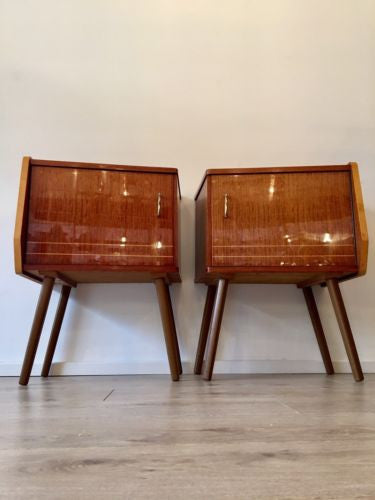 Mid Century Vintage Bedside Cabinets Pair Tables 1960's