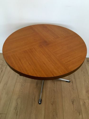 Vintage 1970's Coffee Table Merrow Era With Chrome Pedestal Base COURIER