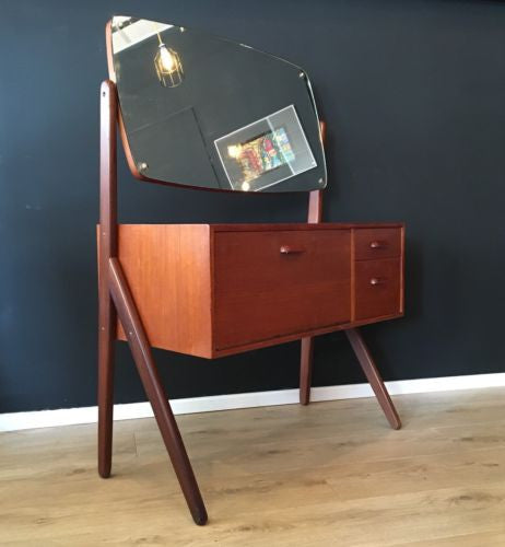 Mid Century Danish Teak Vanity Unit Dressing Table With Mirror 1960's COURIER