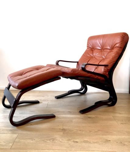 Mid Century Vintage Leather Lounge Armchair And Footstool Relling For Westnofa