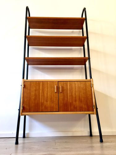Mid Century Swedish Teak Industrial Shelving Unit Wall Unit Book Shelf Danish