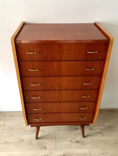 Mid Century Vintage Tall Boy Chest Of 6 Drawers Heals Era 1960's