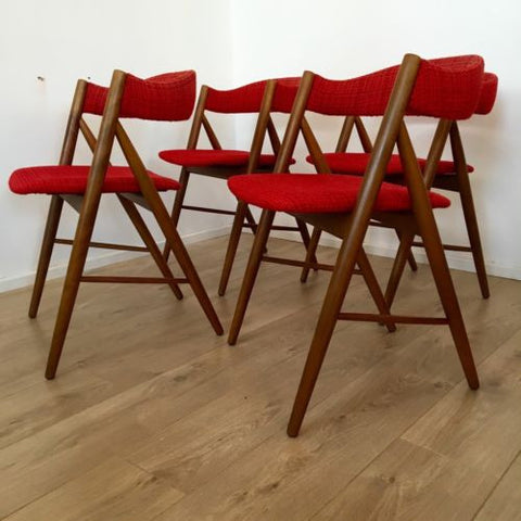 Set Of 4 1970's Danish Teak Dining Chairs In Style Of Kai Kristiansen