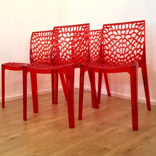 Modern Contemporary Perspex Dining Stacking Chairs in Style Of Kartell Set of 4